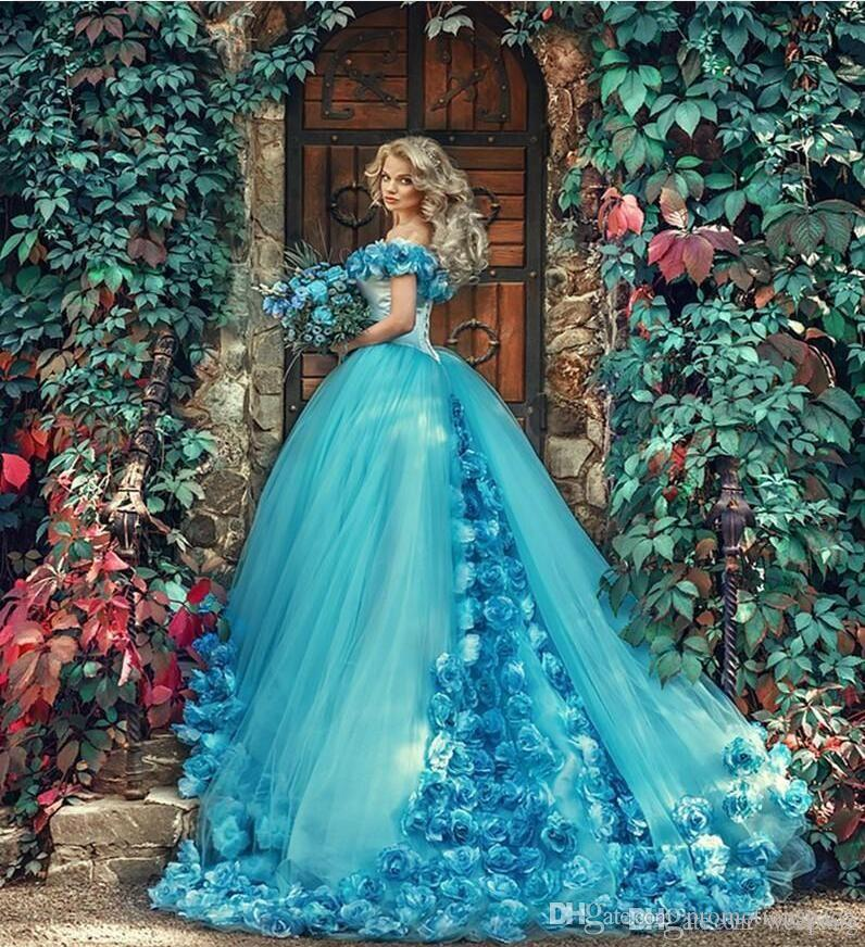 Most Beautiful Ball Gown Wedding Dresses: 2017 Blue Ball Gown Quinceanera Dresses With Handmade