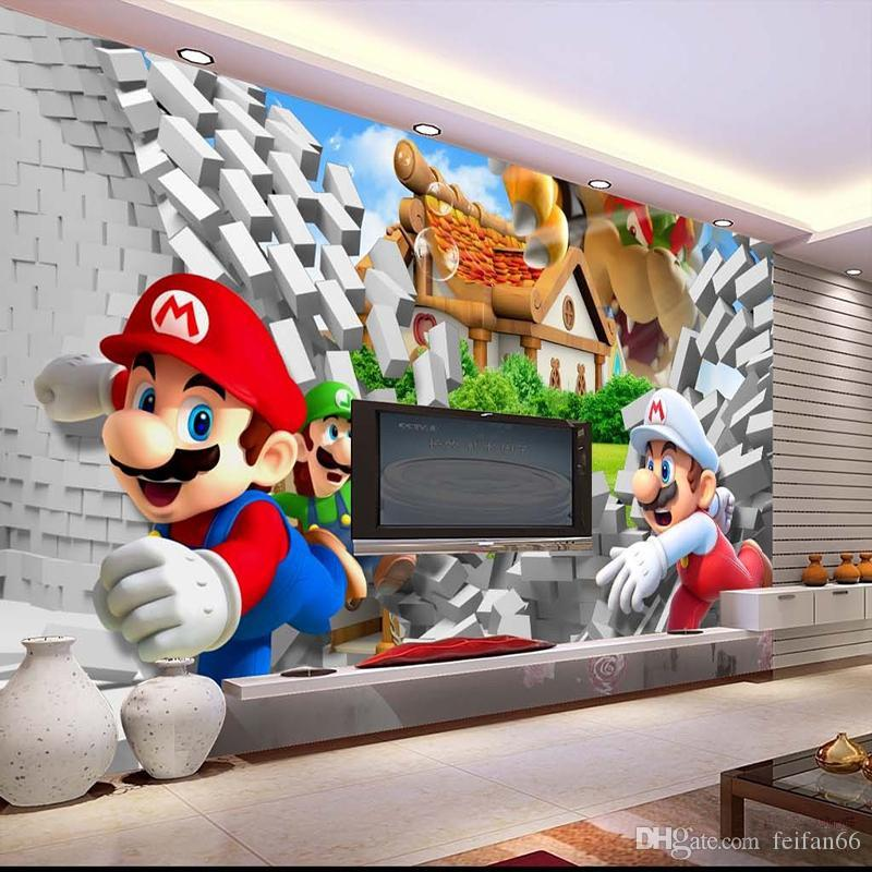 Cartoon Large Mural 3d Super Mario Wallpaper Mario Brothers Theme