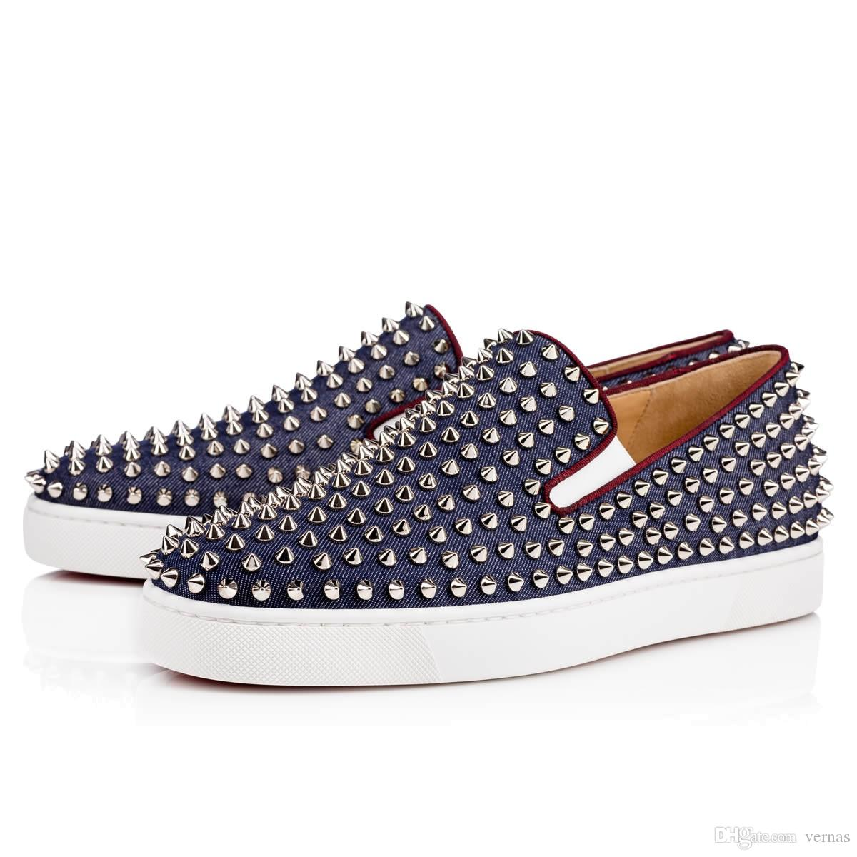 e129e9ca69 Fashion Red Bottom Spikes Loafers Shoes Men S Flat Walking Flats ...