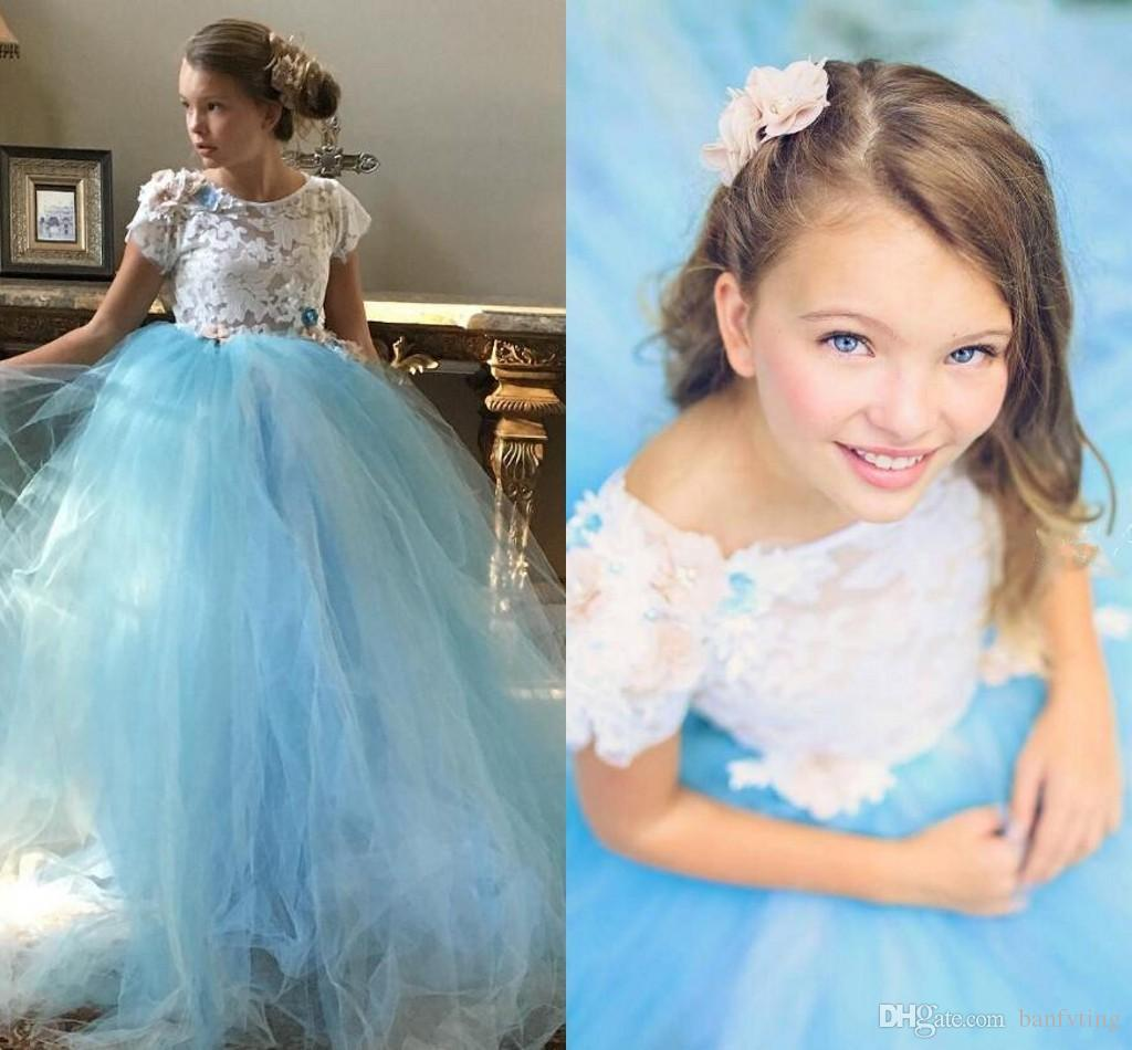 Beautiful Sky Blue Tulle Gown Prom Dress Girls Long Toddler Party ...