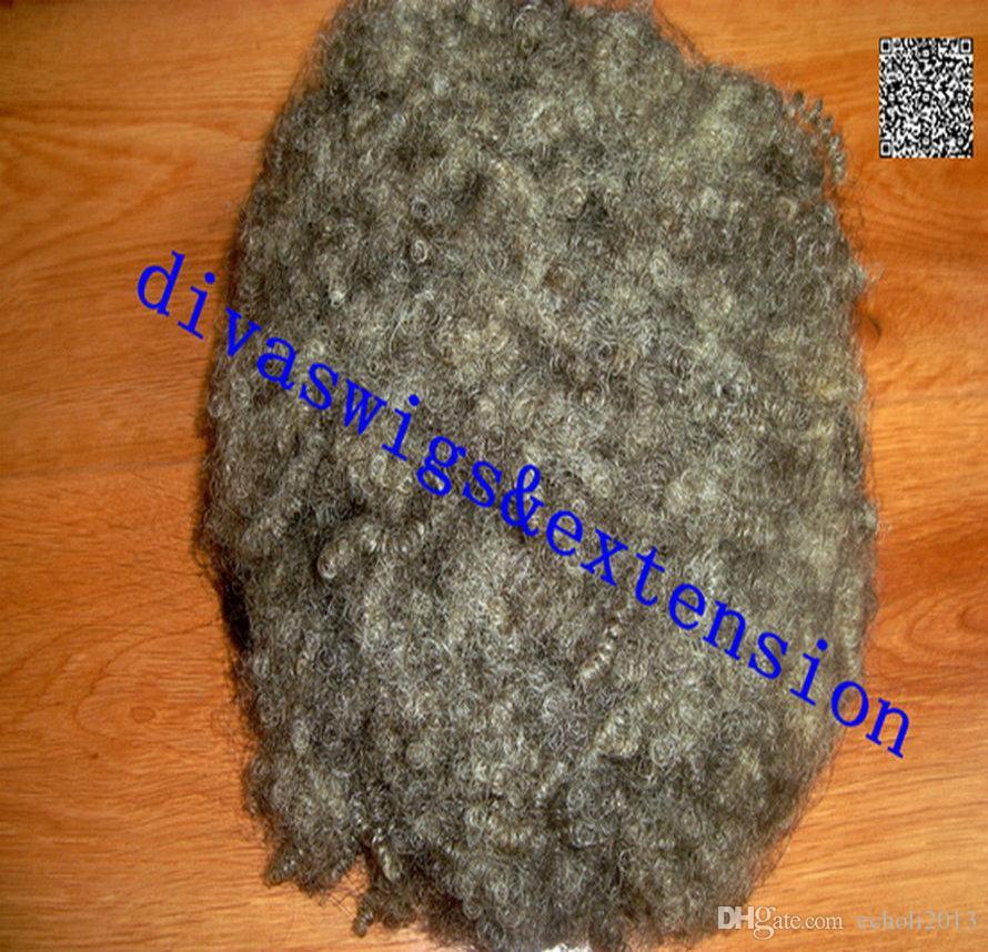 Mode menschlichen silbergrauen verworrenen lockigen Pferdeschwanz Clip in Afro verworrenen lockigen grauen Pferdeschwanz Haarverlängerung graue Haare Brötchen 100g 120g