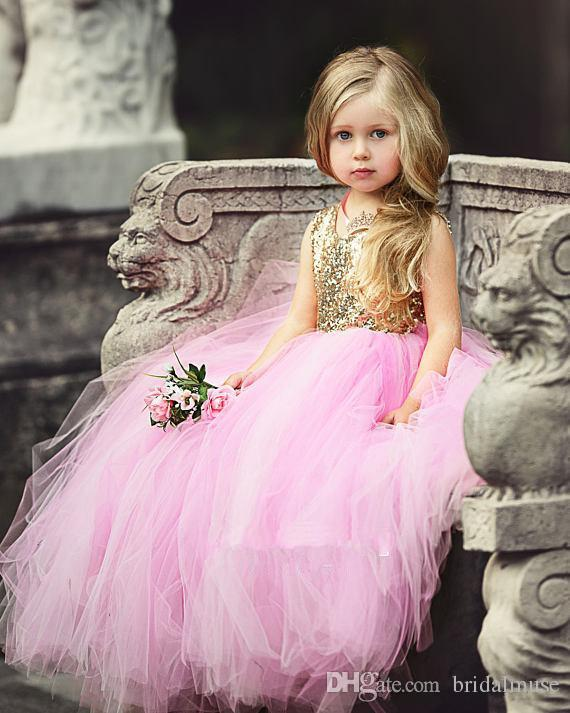 Flower Girl Dresses For Wedding Pink With Gold Sequins Hollow Back