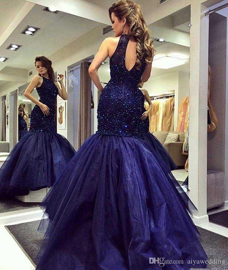 2019 marine majeur perles élégante sirène robes de bal robes de fiesta licou col en trou de serrure dos équipée robes de soirée robes réception Dresse