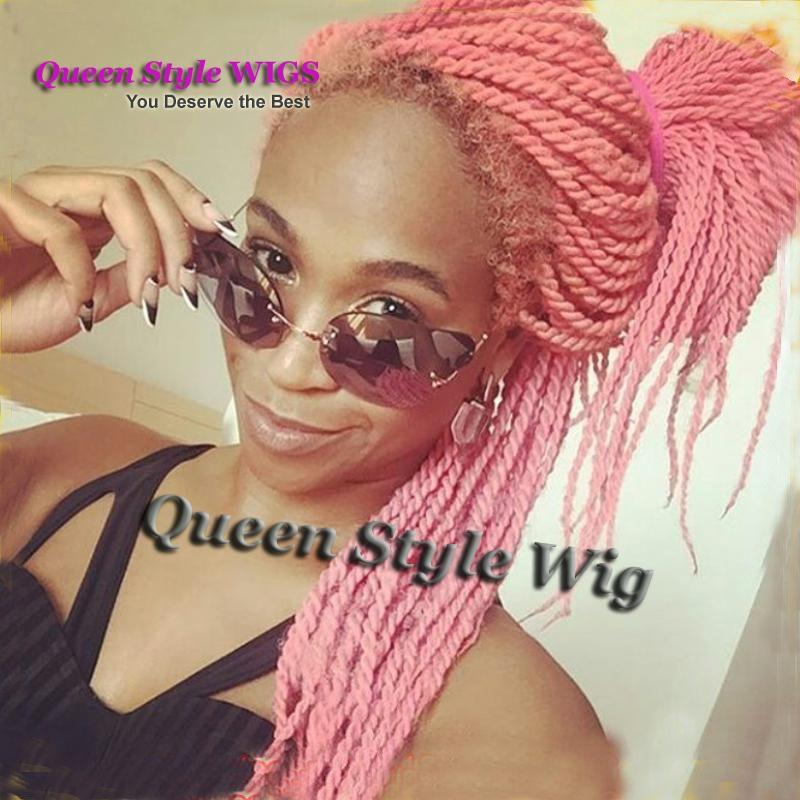 Афроамериканские черные женщины прическа парик синтетические твист косы кружева фронт парик / полный парик кружева, Сенегал замок Кос парики для черных женщин