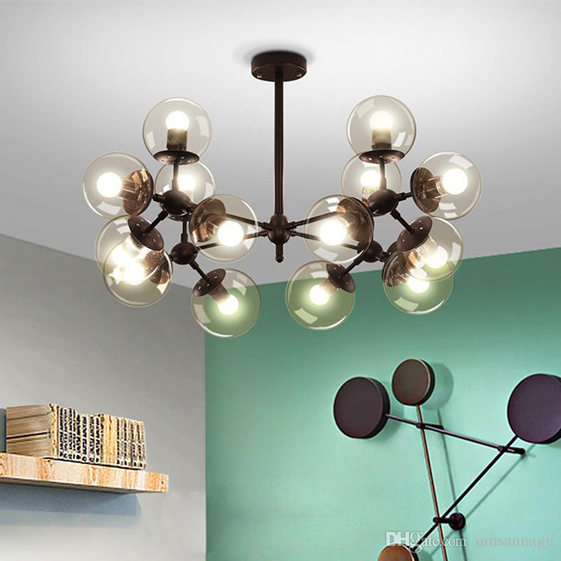 Led modern pendant lamps american magic beans pendant lights fixture glass balls hanging lamp home indoor lighting european balls droplight contemporary