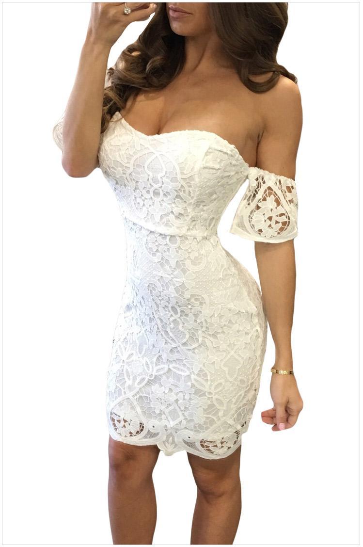 Vestito da Clubwear da donna a manica corta senza spalline in pizzo Vestidos Taglia: M L DLM220026