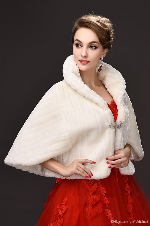2018 Оптовая зима дешевые поддельные искусственного меха свадебные куртки с длинными рукавами высокая шея свадебная шаль болеро для свадьбы особых случаев CPA971