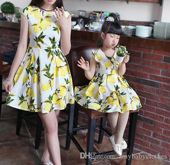 Matching Mother Daughter Clothes Summer Style mother Daughter Matching Dresses Mom and Daughter dress Printing Family Clothing