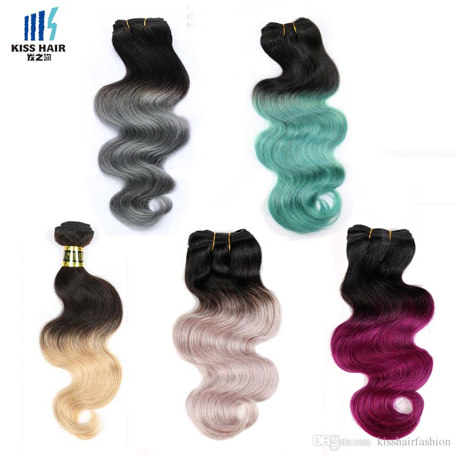 4 Bundles Two Tone Ombre Human Hair Weave Bundles Brazilian Body Wave Green Blue Grey Red Pink Purple Colored Brazilian Hair Extensions