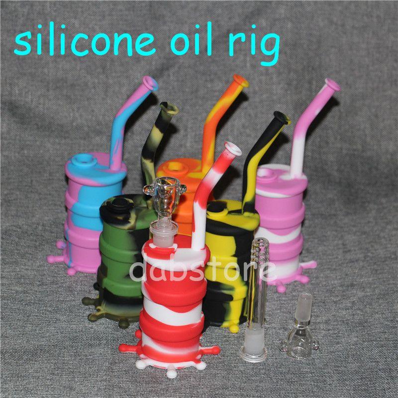 Arrivel Couleur Tuyaux En Silicone En Silicone Amovible Bong En Silicone Amovible Long Pipe Bongs En Verre Hauteur 8.26