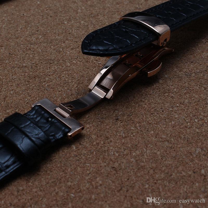 Pulseiras de Couro de Couro com Crocodilo Padrão de Grão Especial pulseira de relógio fivela de ouro rosa borboleta implantação marrom preto novo 20mm 22mm