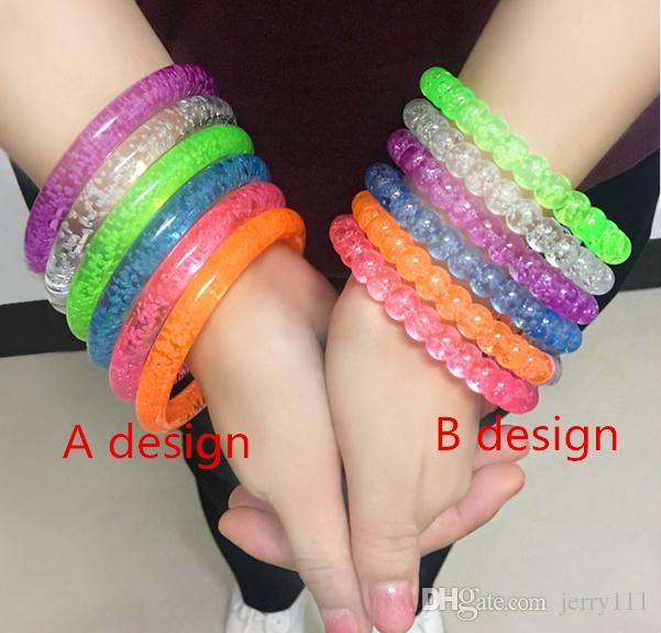 LED Flash Blink Glow Bracelets Color Changing Light Acrylic Toys Lamp Luminous Hand Ring Party Fluorescence Club Stage Bangle Xmas Hot8