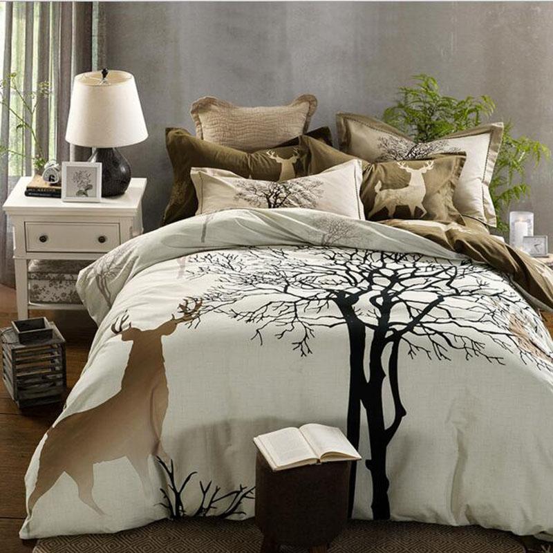 svetanya tree deer cartoon print thick bedding set sanding cotton bedlinen queen king size winter duvet cover set