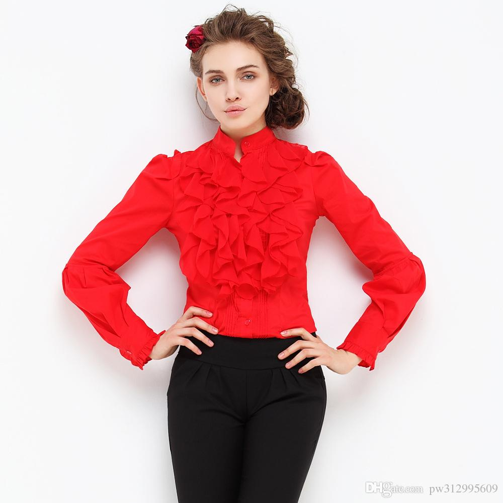 3d21ffa8 2019 Body Shirt 2017 Women Shirts Fashion Career OL Slim Solid Casual  Formal Chiffon Blouses Long Sleeve Ruffle Front From Pw312995609, $27.12 |  DHgate.Com