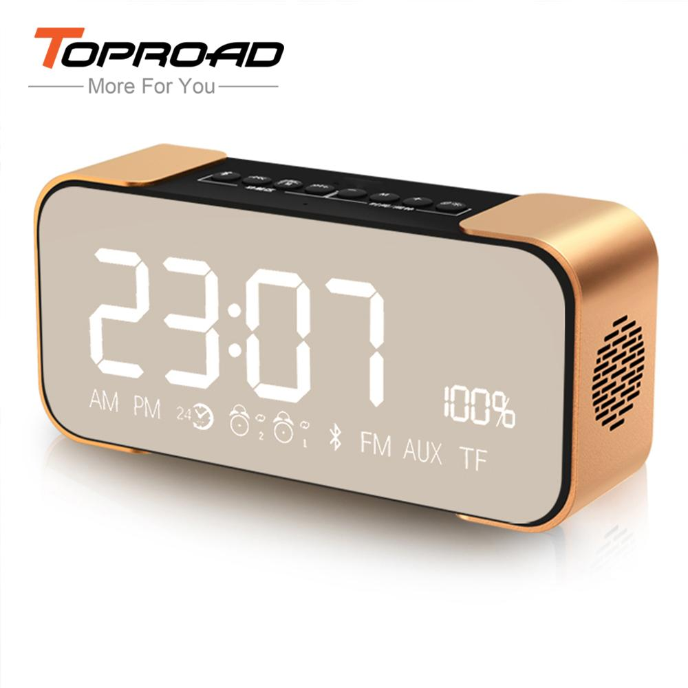 Portable Bluetooth Speaker Wireless Stereo Soundbox Time Display Alarm Clock Fm Radio Tf Card Altavoz Speakers For Phones Car Uk Ceiling