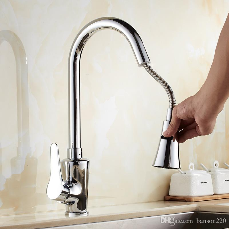 Classic pull out kitchen mixer tap of single handle single hole kitchen  faucet with hot cold solid brass kitchen sink water tap