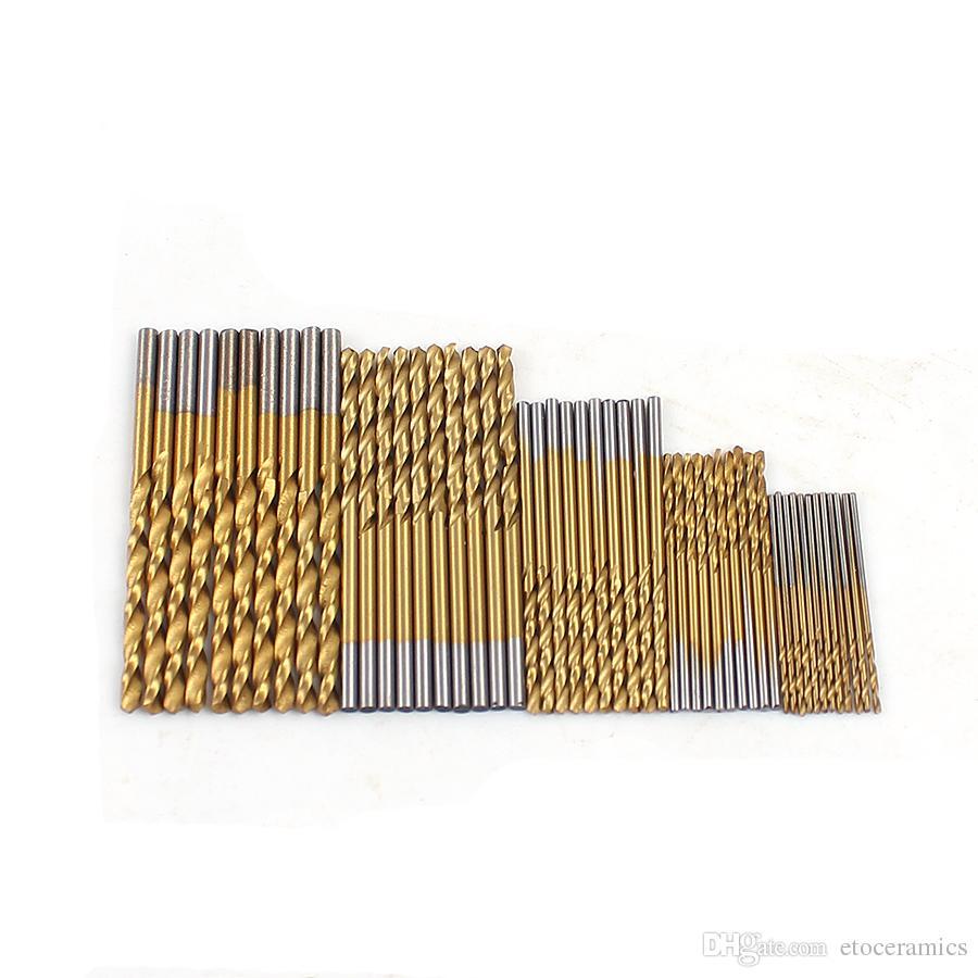 50 stks / set Twist Boor Set Zaag Set HSS Hoge Staal Titanium Coated Boor Houtbewerking Hout Tool 1 / 1,5 / 2 / 2,5 / 3mm voor metaal