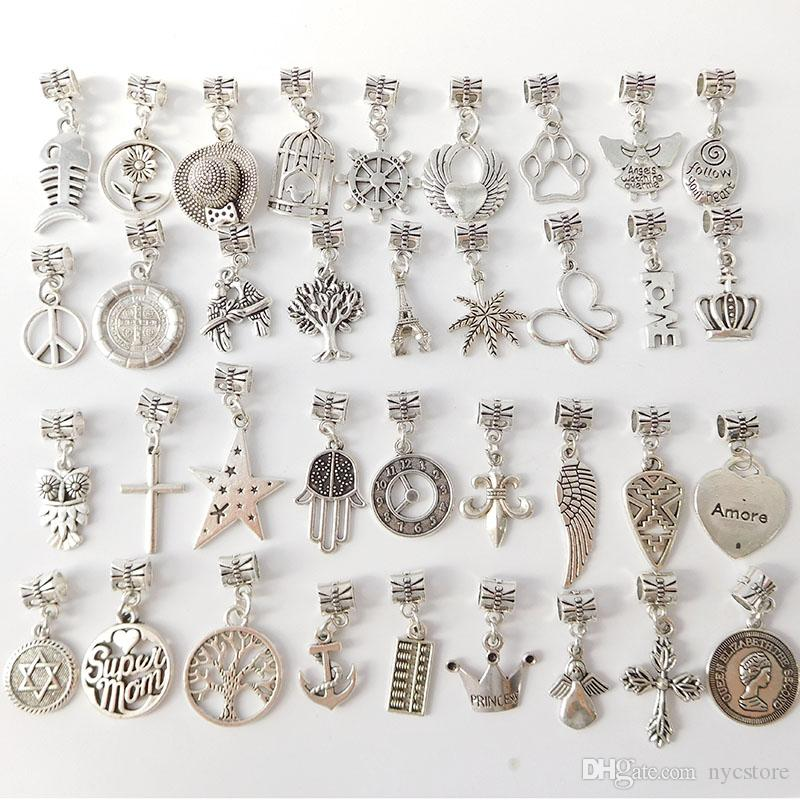 200 Estilo Misto Estilos 925 Pingente de Prata Encantos Contas Alloy Encantos Pingente Big Hole Beads Fit Charme Europeu Pandora Pulseira Jóias Barato