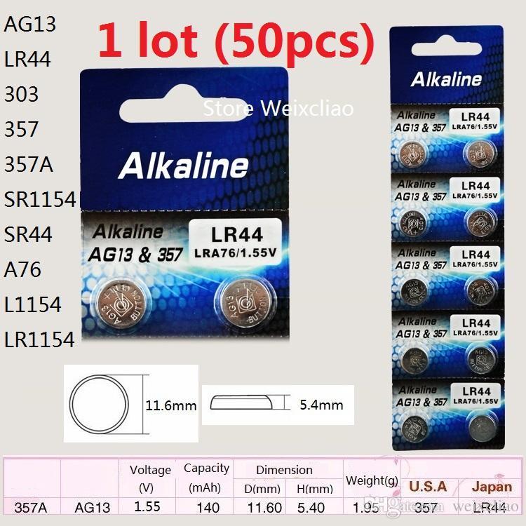 50 adet 1 grup AG13 LR44 303 357 357A SR1154 SR44 A76 L1154 LR1154 1.55 V alkalin düğme pil pil pilleri Ücretsiz Nakliye