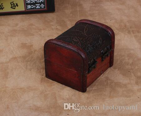 Vintage Schmuck Box Organizer Aufbewahrungskoffer Mini Holz Blume Muster Metallbehälter Handgemachte hölzerne kleine Boxen