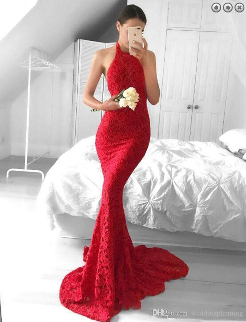 Amercian Celebrity Wear Mermaid Stylish Prom Dresses Lace Halter Neck Zipper Back Evening Party Dresses High Neck Sweep Train Evening Gown