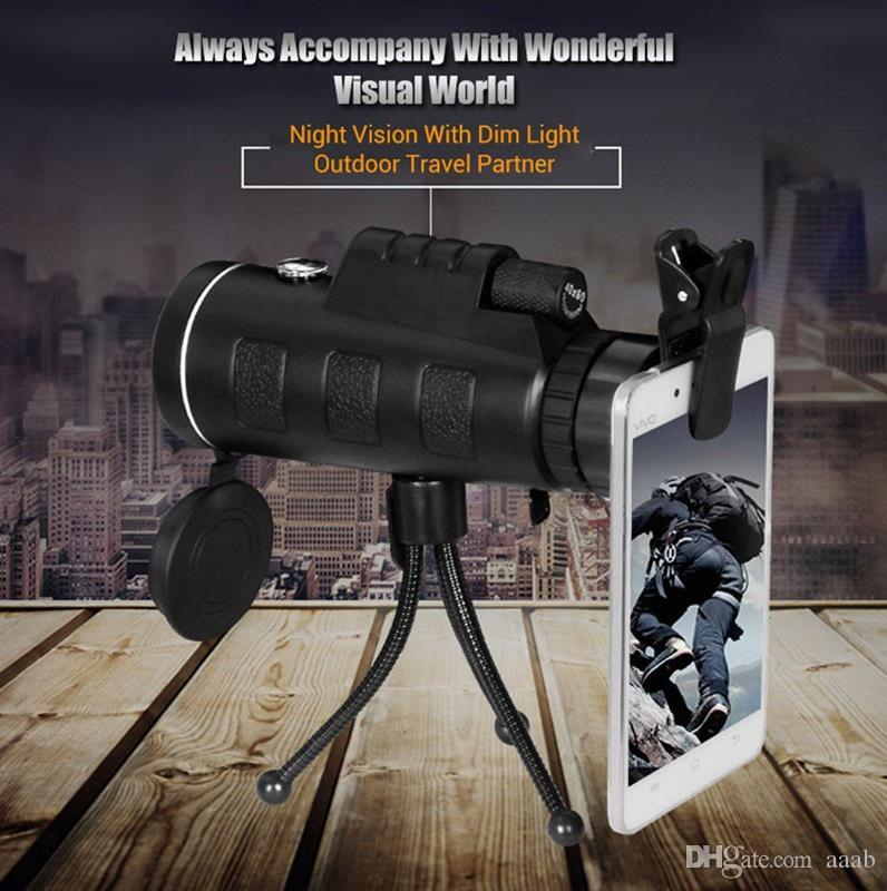 PANDA 40x60 Mini Tripod Telescope Night Vision Monocular Telescopio Phone Camera/Video Telescope With Compass