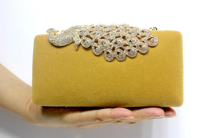 Crystal Peacock Evening Bags High Quality Velour Handbags Women Prom Party Rhinestone Clutch Purse Bride Bridesmaid Wedding Hand Bags