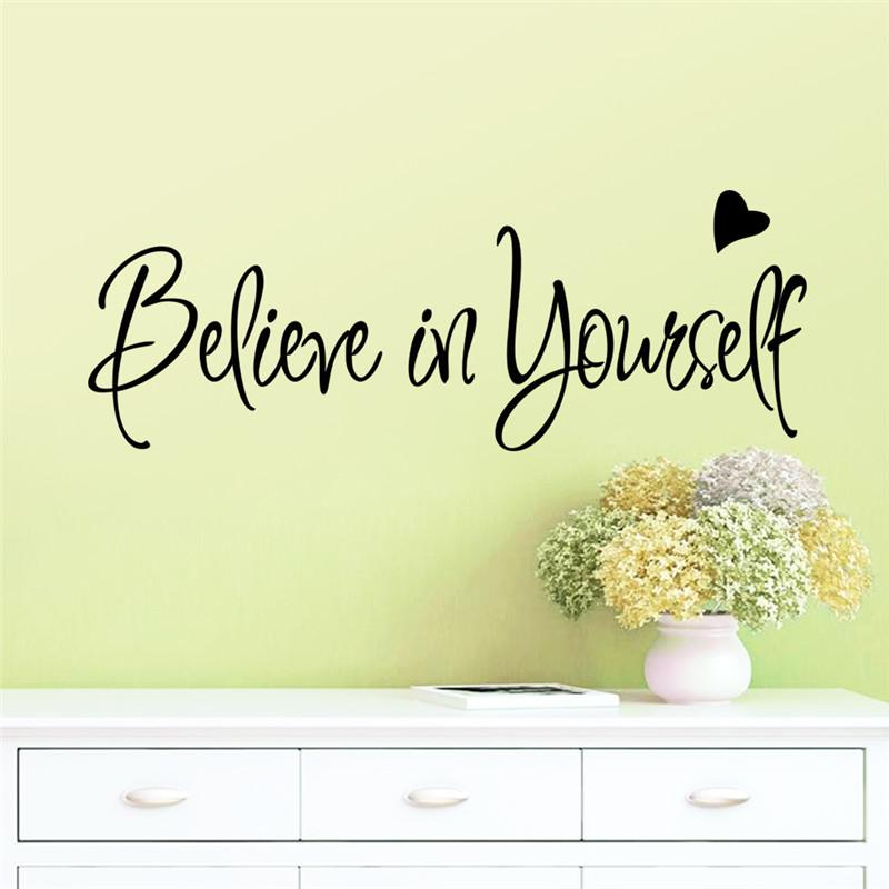 Believe In Yourself Heart Inspiration Quote Words Home Decor Wall ...