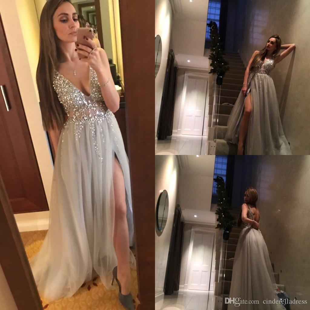 2017 Sexy Paolo Sebastian Gray Prom Dresses Deep V Neck Sequins Tulle High Split Long Evening Dress Wear