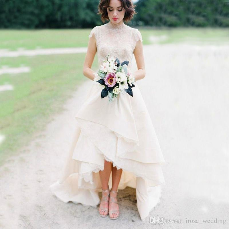 Discount High Low Hem Lace Wedding Dresses Top Lace High Neck Cap ...