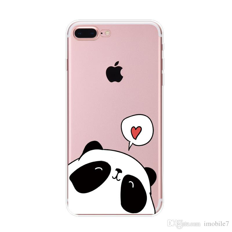 9 estilos para Iphone 6 / 6s Caso Animales Panda Unicornio Transparente de silicona Tpu suave Casos Para Iphone 6s Cubierta de cactus Labios Flamingo Cubierta del teléfono
