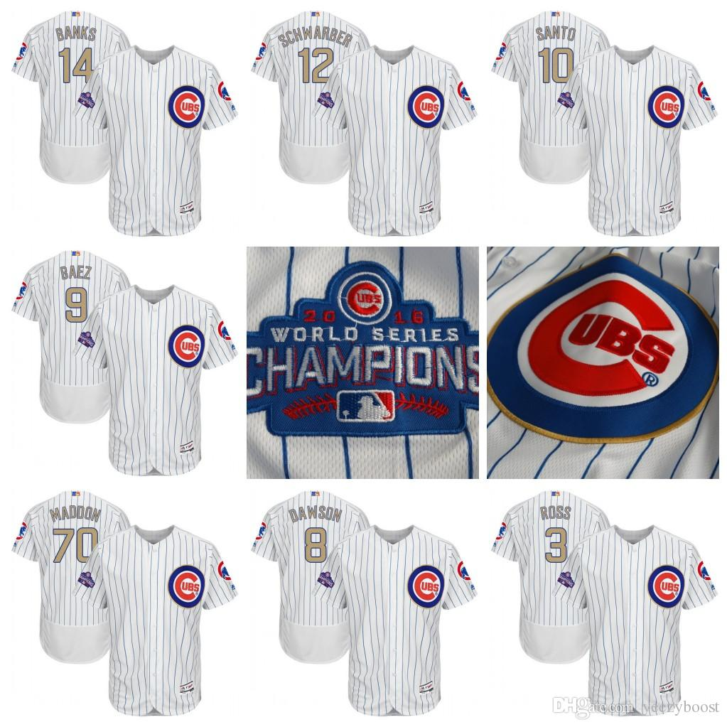 18b1aabddc2 2019 2017 Gold Program  3 David Ross  8 Andre Dawson  10 Ron Santo  14  Ernie Banks  9 Javier Baez Chicago Cubs Baseball Jersey From Yeezyboost