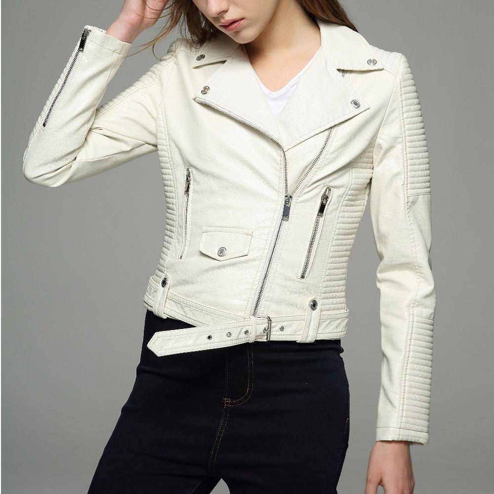 2019 Long Sleeves Womens Jackets 2017 Black Beige White Leather