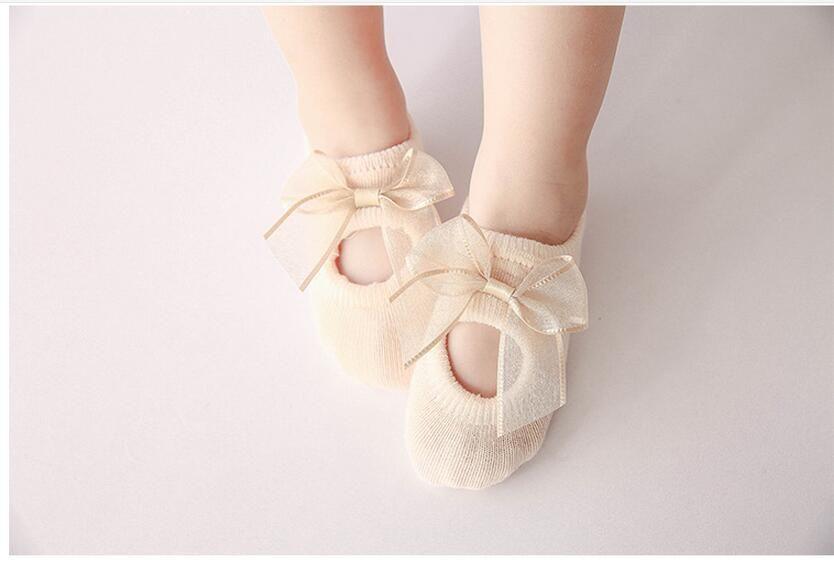 Hot Sale Summer Baby Girls Flower Socks Summer Cotton Bow Baby Girls Cute Socks Babies Non-slip Socks