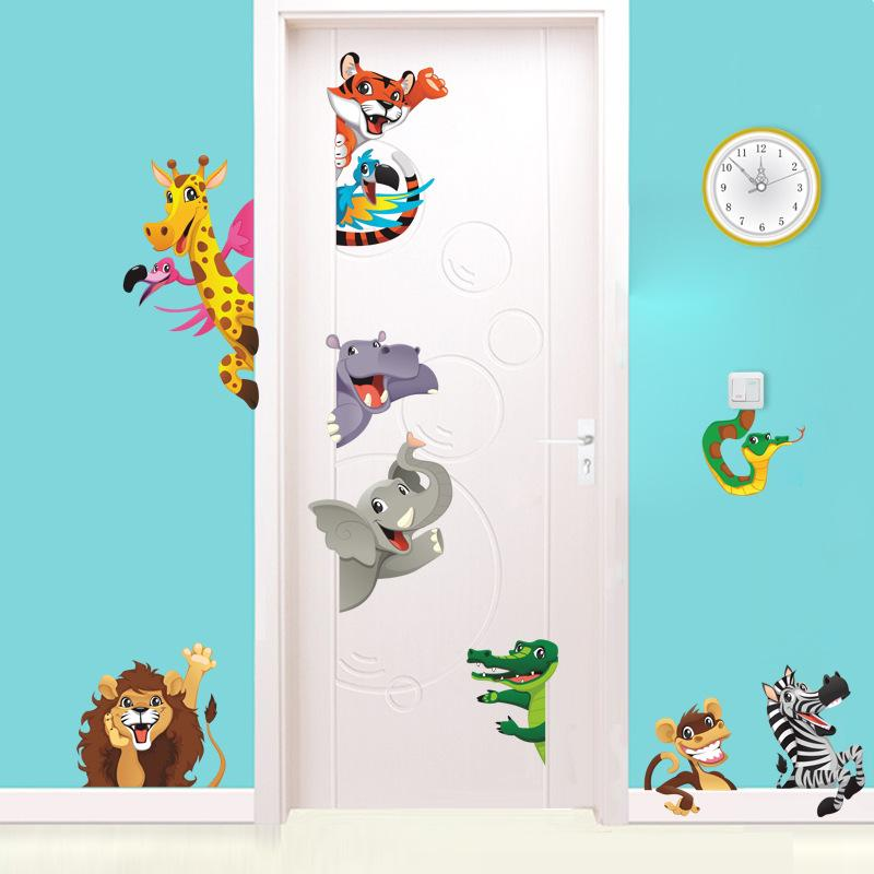 Cute Lion Tiger Elephant Wall Sticker Diy Cartoon Animals Wall Decals For  Kids Room Home Decoration Removable Wall Sticker Home Decor Wall Sticker  Kids From ...