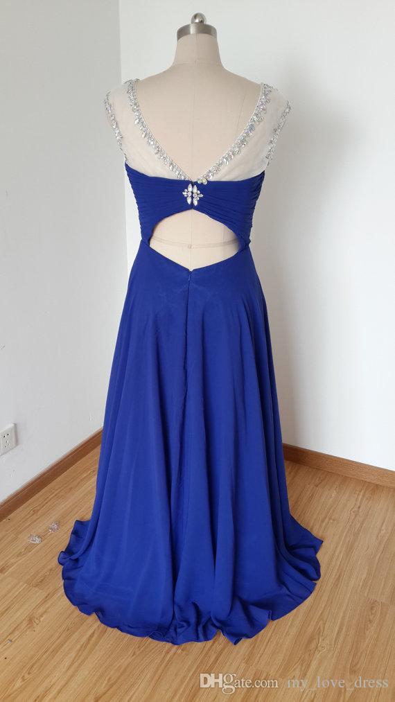 Heißer verkauf a-line perlen scoop abendkleid lange chiffion party kleider royal blue abendkleid v zurück aushöhlen bodenlangen