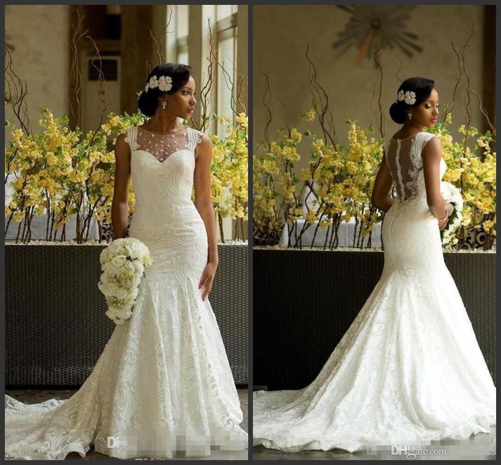 Discount Designer Wedding Gowns: Sexy Mermaid Lace Nigerian Modest Designer Chapel Train