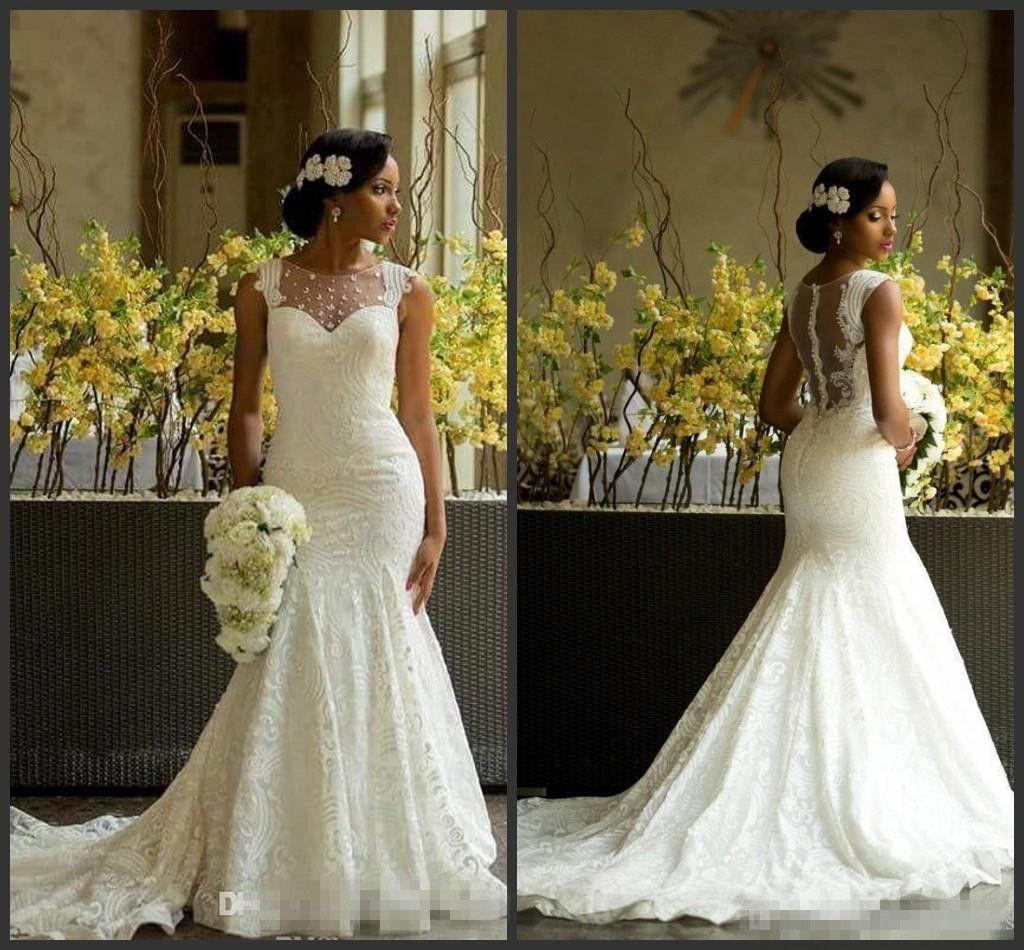 Cheap Wedding Gowns Uk: Sexy Mermaid Lace Nigerian Modest Designer Chapel Train