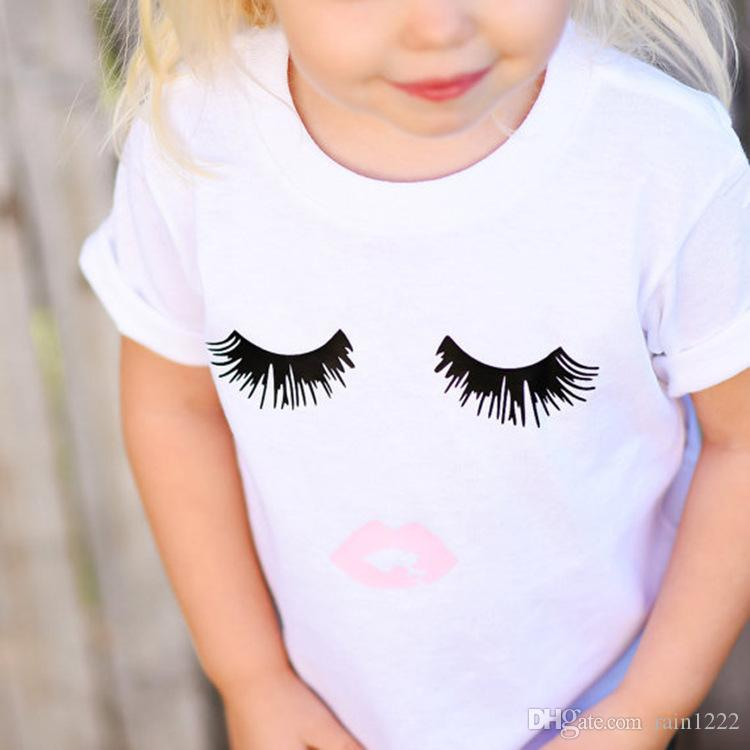 Children Kids Cotton T-shirts Shirts For Girls Summer White Eyelashes Style Short Sleeve Shirts Tops Tees Toddlers Princess Shirts Clothiing