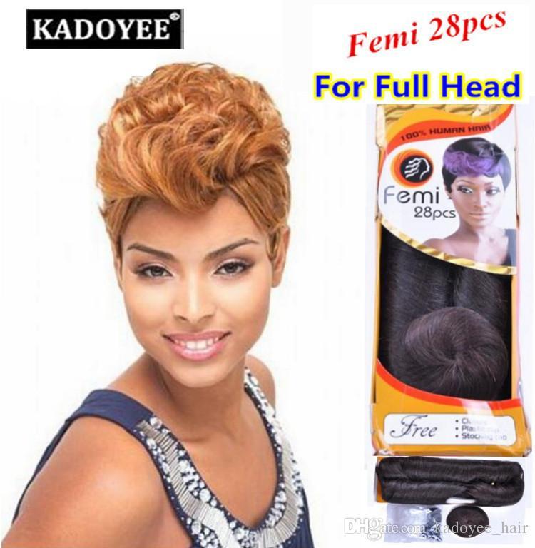 Pack For Full Head Femi Human Short Hair Bump Weave Virgin Brazilian