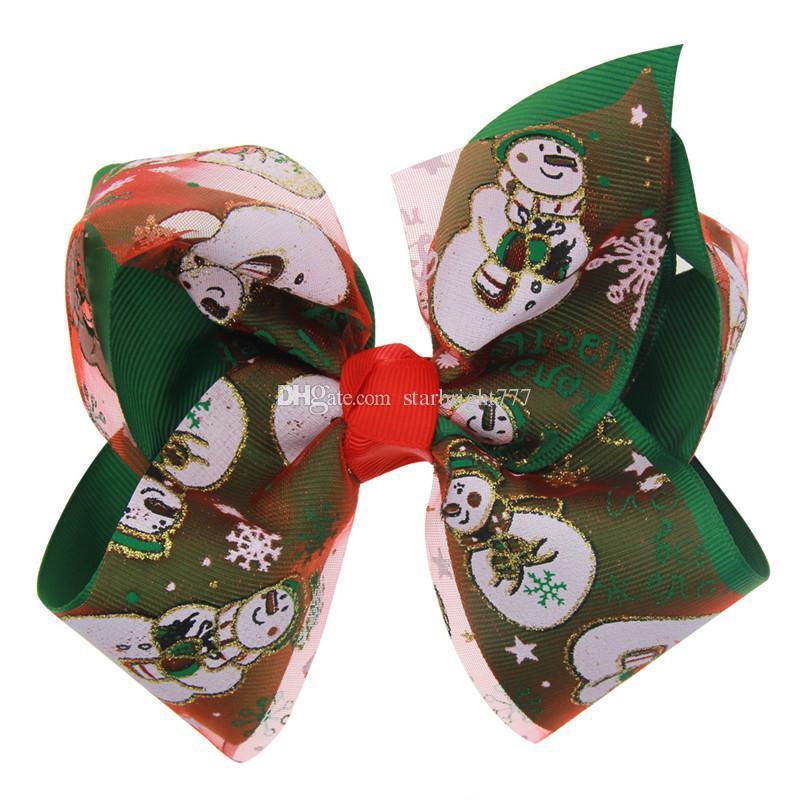 Девочки милые рождественские большой бант заколки для волос матовая лента рождественский узор печать головные уборы волна полоса снежинка заколки для волос снеговик