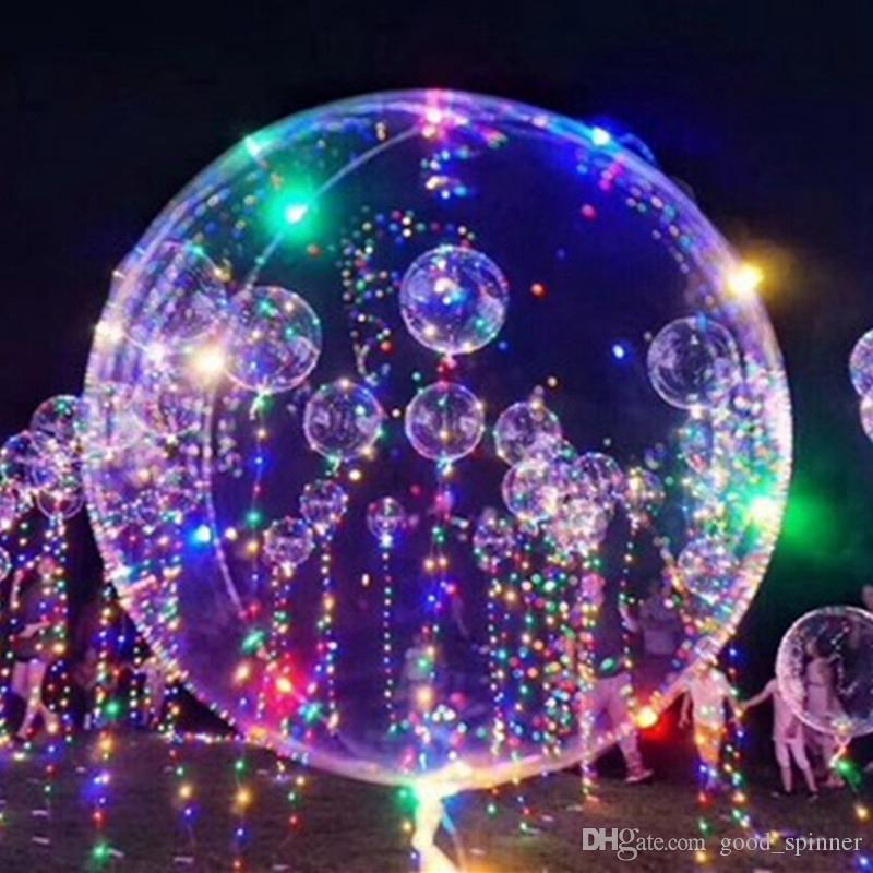 New Year Christmas Decoration 18 inch with 3m LED cable Luminous Led Balloon Transparent Round Bubble Decoration Party Wedding decorations