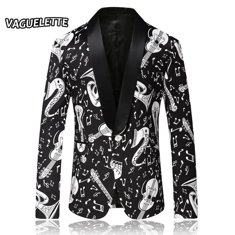 3054e2d16ef6 2019 Wholesale Fashion Stylish Blazers Men Slim Fit Printed Musical Note  Patterns Stage Clothes For Singer Wear Men Suit Jacket M 4XL From Humphray