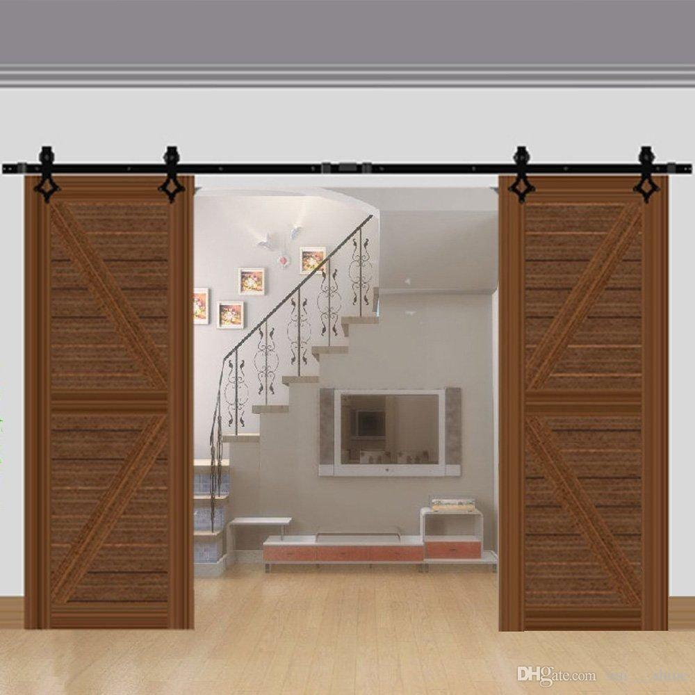 Exceptionnel 5 16 FT Double Tms Barn Door Hardware Interior Tcbunny Flat American Contry Style  Sliding Door Kit Double Door Kit Online With $342.71/Piece On ...