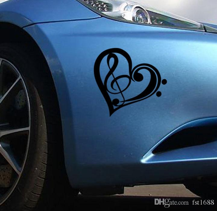 / Music with Love Heart Car Window Stickers Removable Wall Decor Body Bumper Sticker Art Home Room Wall Paper Car Decal A-176