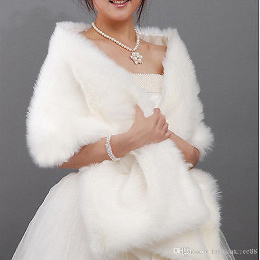 Слоновая кость белый черный куртка из искусственного меха обернуть плечи болеро аксессуары свадебная шаль мыса свадебная свадьба 2018