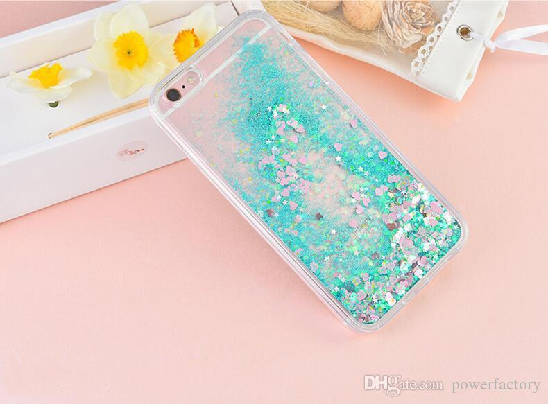 Bling Heart Glitter Liquid Sparkle cubierta de parachoques suave para Iphone 7 6S 6 Plus