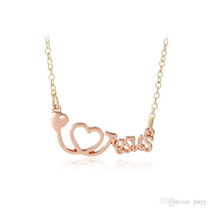 Colliers De Mode Coeur Collier Jesus Lettres Amour Pendentif Colliers Alliage Trois Couleurs Pour Les Femmes Collier Cadeau