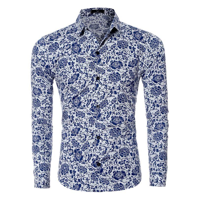 fa35b085 Spring autumn men shirt fashion long sleeve floral print camisa masculina  shirt for man's plus size