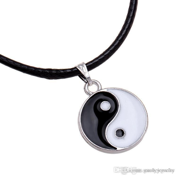 New fashion Hot Sale Best Friends Ying Yang Necklaces Sliver Chain Two Bagua Charm Pendant Necklace